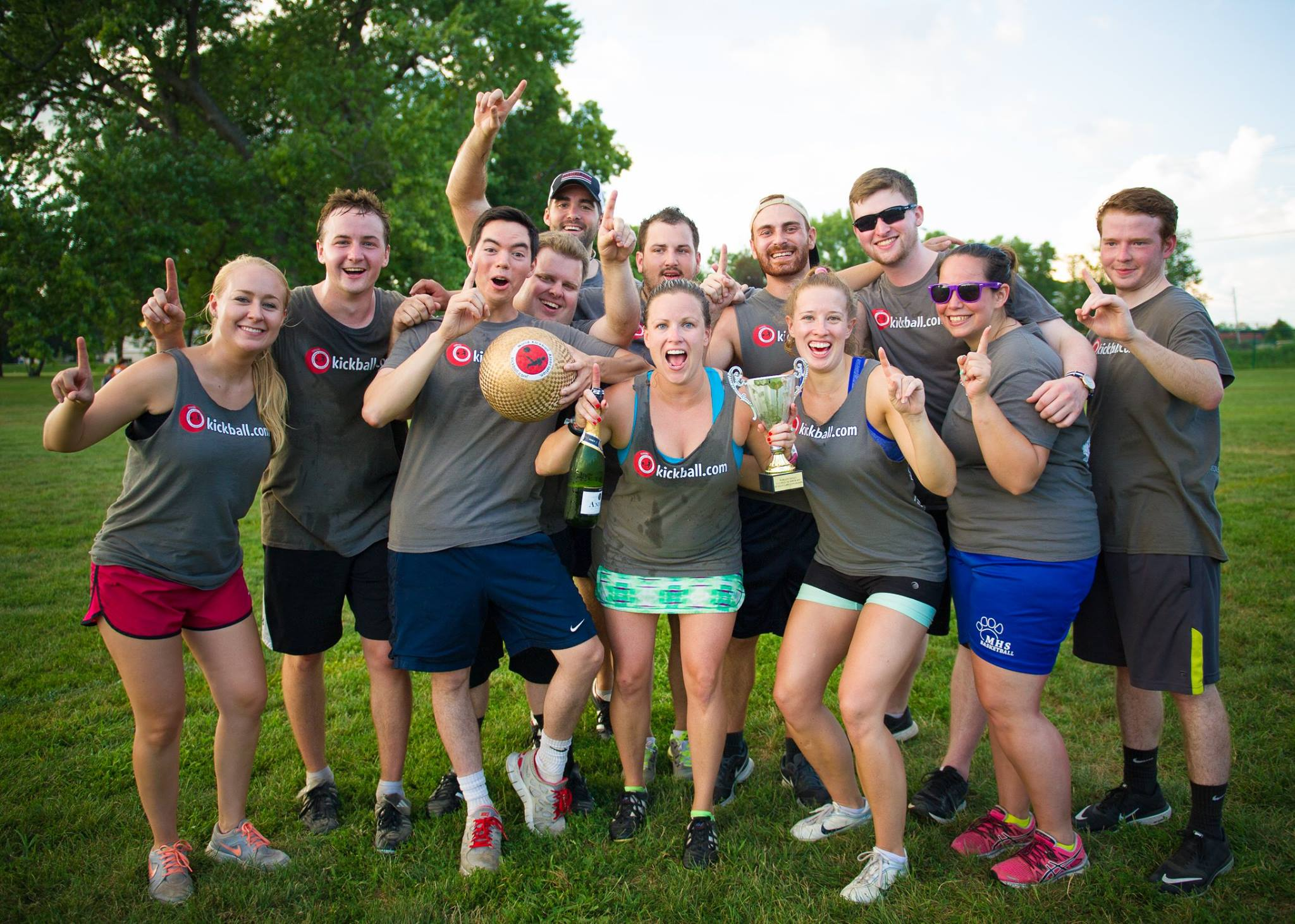 Kickball team celebrating